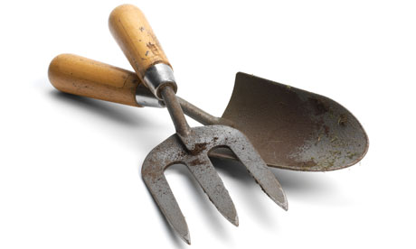 Gardening trowel and hand fork